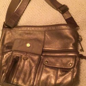 Fossil bronze leather crossbody